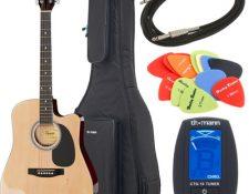 CUAL ES LA MEJOR GUITARRA ACUSTICA PARA PRINCIPIANTES Fender Squier SA-105CE NA Bundle