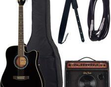 pack de guitarra acustica para principiantes 2020 Harley Benton HBD120 CE BK Bundle