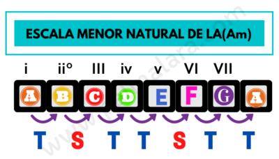 las escalas menores patron escala la menor natural Am A minor scale pattern